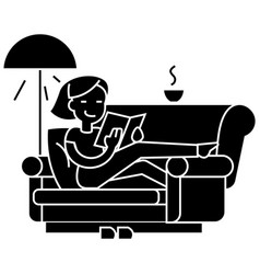 Woman at home at sofa reading book with tea and vector