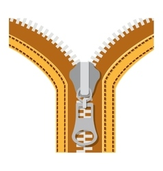 Yellow sewing with metal zipper and oval handle vector
