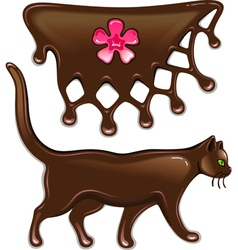 Chocolate marmalade flower decor and cat vector