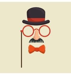mask gentleman hat and glasses mustache bowtie vector image