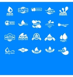 Blue logos set label for mineral water aqua vector