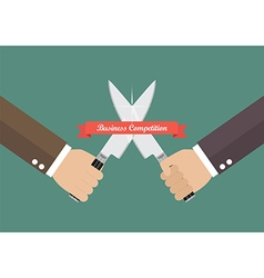 Business hand fighting with knives vector