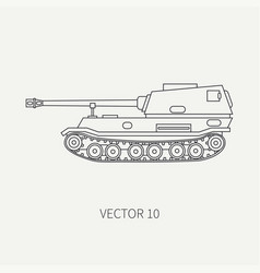 Line flat plain icon self-propelled vector