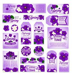 Spring season floral tag label and card set vector