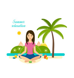 Ssummer girl is engaged in yoga and meditation vector
