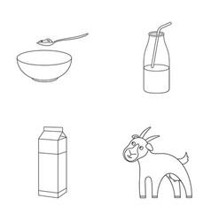 Bowl of cottage cheese yogurt milk package goat vector