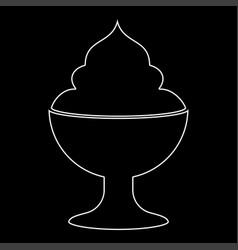 Ice cream white color path icon vector