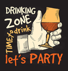 retro style poster for alcohol party drinking vector image