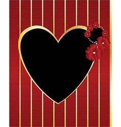 Red gold black heart frame background vector image