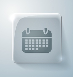 Calendar glass square icon with highlights vector