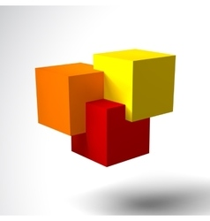 3D logo with bright colored cubes vector image vector image