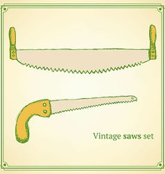 Sketch saws for wood in vintage style vector