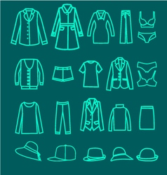 Clothes linear icons collection woman cloth vector