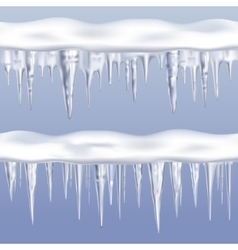 Icicles tileable borders set vector