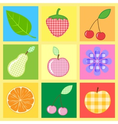 Applique fruits and berries vector