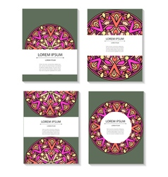 Set templates business cards and invitations with vector