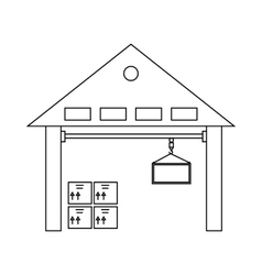 Warehouse with goods icon outline style vector
