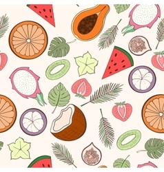 Seamless exotic fruit pattern vector
