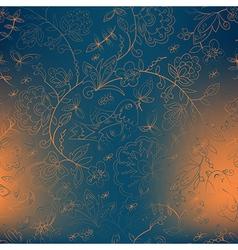 Bird and flower blue background orange spots vector