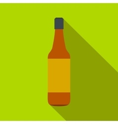 Brown beer bottle flat icon vector image vector image