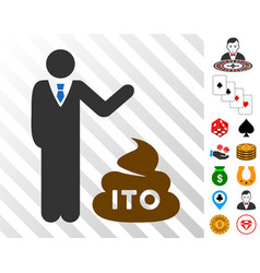 Businessman show ito shit icon with bonus vector