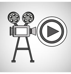 camera film vintage with movie play vector image vector image