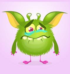 cartoon green monster crying vector image
