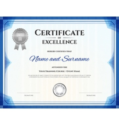 Certificate of excellence template in blue theme vector