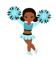 Cheerleader in turquoise uniform with pom poms vector
