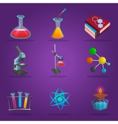 Chemistry lab icon set vector
