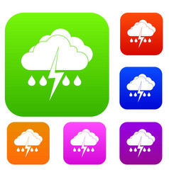 Cloud with lightning and rain set collection vector