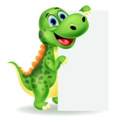 Cute dinosaur cartoon with blank sign vector image