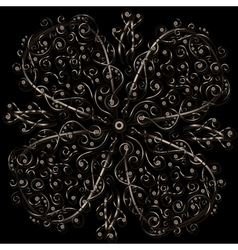 Floral ornament in circle vector