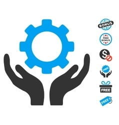 Gear maintenance hands icon with free bonus vector