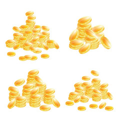 golden coins set isolated on white background vector image