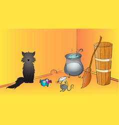 halloween funny scene with black cat mouse and vector image