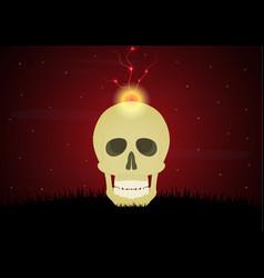 Halloween skull graveyard thunderbolt lightning vector