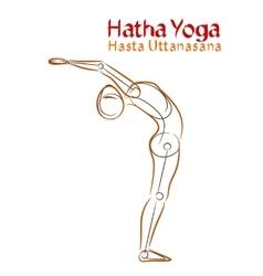 Hatha yoga hasta uttanasana vector