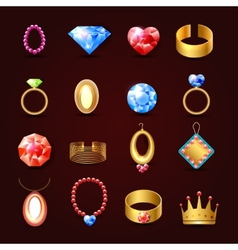 Jewelry icon set vector image vector image