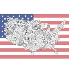 Map of the United States of flowers vector image vector image