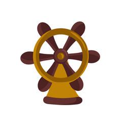 nautical isolated icon with handwheel vector image
