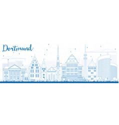 outline dortmund skyline with blue buildings vector image