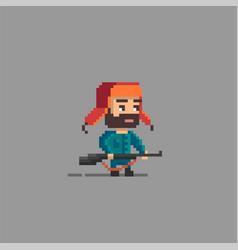 Pixel art hunter character vector