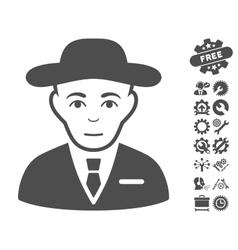 Secret service agent icon with tools bonus vector