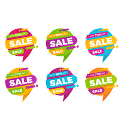 set of colorful speech bubble sale designs vector image vector image