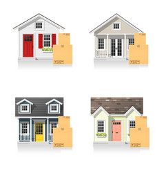 Set of small houses and cardboard boxes vector