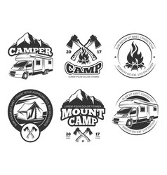 Vintage labels set with camper near vector
