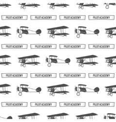 Vintage pilot academy pattern old biplanes vector