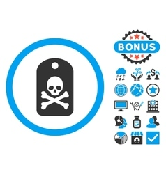 Death sticker flat icon with bonus vector
