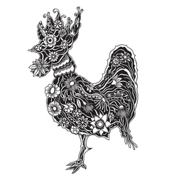 Floral ornate rooster vector